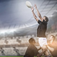 Composite image of rugby fans in arena and 3d