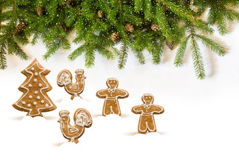 Christmas decorations made of gingerbread and Christmas trees.