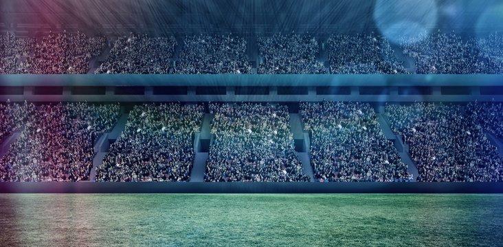 Digital image of crowded soccer stadium 3d
