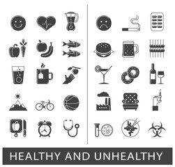 Collection of various food and lifestyle icons. Comparison between healthy and unhealthy way of life.