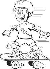 Black and white illustration of  a boy riding a skateboard.