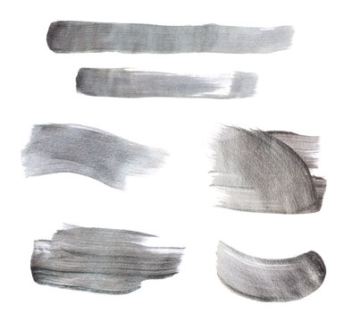 Set of gray paint strokes