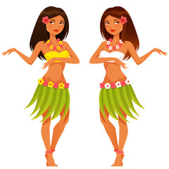 beautiful Hawaiian girl dancing in traditional hula costume