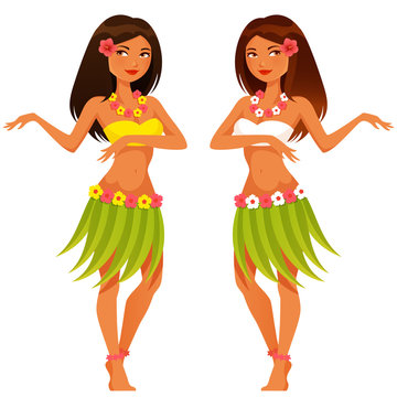 beautiful Hawaiian girl dancing in traditional hula costume