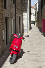 Sights of Croatia. Streets of Island Hvar with ancient monuments . Croatian paradise.