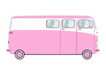 Pink Valentine's retro van. Side view. Flat vector.