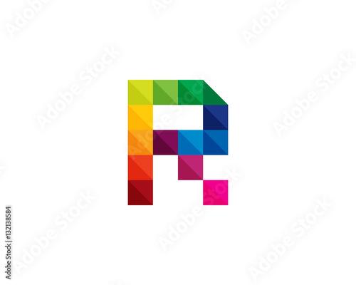 Letter R Square Pixel Logo Design Element