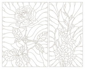 Set contour illustrations in the stained glass style, abstract flowers of rose and gladiolus, dark outline on a white background