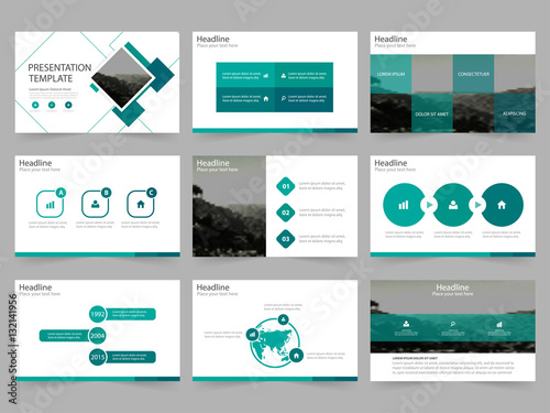 Green Abstract Presentation Templates Infographic Elements Template