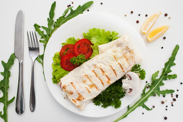 Food Snack Shawarma Burrito Snack Fast Junk Mediterranean Eastern Cuisine Concept
