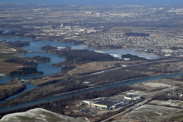 aerial view of the Mel Swart Lake Gibson Conservation Park asnd partial view of the Welland canal  near Thorold, Ontario Canada