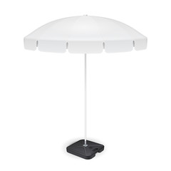 Promotional Square Advertising Outdoor Garden White Umbrella Parasol. Mock Up, Template. Illustration Isolated On White Background. Ready For Your Design. Product Advertising. Vector EPS10