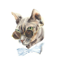 Cat wearing glasses watercolor painting illustration isolated on white background greeting card