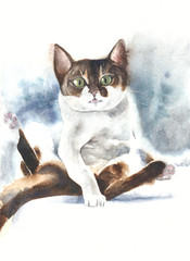 Cat sitting tongue out watercolor painting illustration