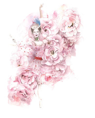 Ballerina dancing flowers roses ballet watercolor painting illustration isolated on white background