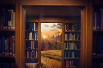 Composite image of close up of a bookshelf 3d