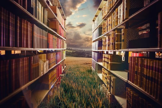 Composite image of close up of a bookshelf 3d