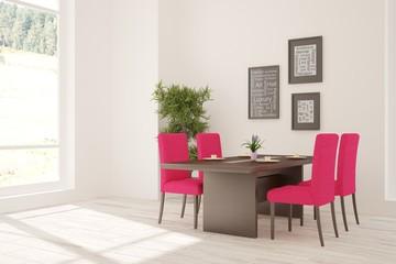 White room with modern furniture. Scandinavian interior design
