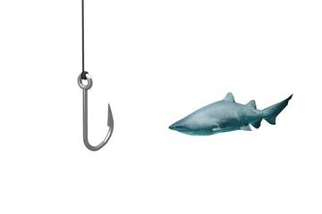 Composite image of close-up of fishing hook