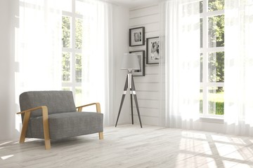 White room with armchair. Scandinavian interior design