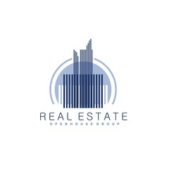Vector concept for accounting or real estate company. Logo design with commercial building and chart bars