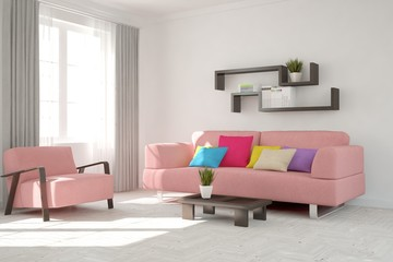 White room with pink sofa. Scandinavian interior design