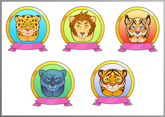 set cartoon illustration of funny cats