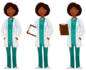 cartoon illustration of a young African American doctor