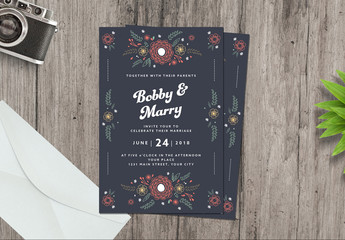 Hand-Drawn Style Floral Wedding Invitation Layout