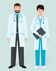 Hospital staff concept. Male and female doctors in medical gowns. Medical people.
