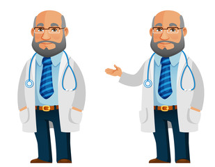 funny cartoon illustration of a friendly doctor