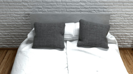 Double bed with clean white linen and grey pillows