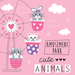 cute animals riding the ferris wheel vector illustration