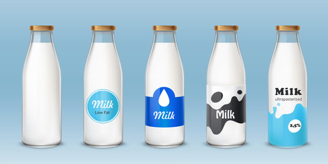 Set of icons glass bottles with a milk