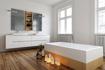 Romantic bathroom setting with burning candles