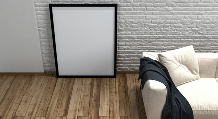 Large blank picture frame leaning on a wall