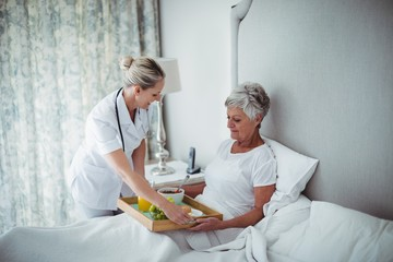 Doctor serving breakfast to senior patient