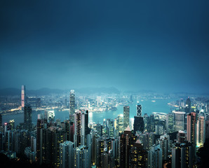 Foto op Aluminium Hong-Kong Hong kong from the Victoria peak