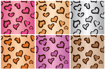 Seamless Leopard Heart Print Tiles