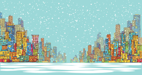 City panorama, winter snow landscape in daylight, hand drawn cityscape, vector drawing architecture illustration