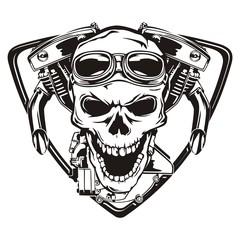 Skull motorcycle machine shield
