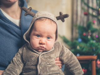 Sad baby at Christmas