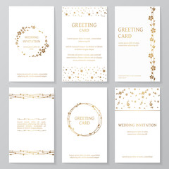 Set of six retro templates with gold floral ornament. Vector vintage wedding invitations and greeting cards with flowers (wreath, border, pattern).