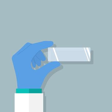 Empty microscopy hold in hand