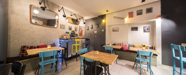 Modern colorful cafe interior
