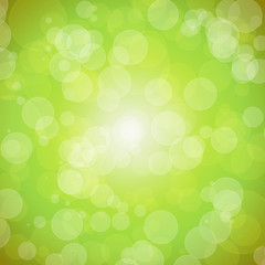 Bright green background with bokeh. Spring. Easter.