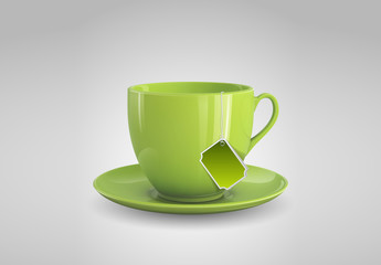 Green Teacup Illustration