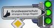 """Wegweiser Daumen hoch für """"Grundwasserschutz, strengere Dünge-Regeln!"""""""