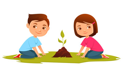 cute cartoon illustration of kids growing a plant