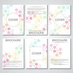 Set of business templates for brochure, flyer, cover magazine in A4 size. Structure molecule DNA and neurons. Geometric abstract background. Medicine, science, technology. Scalable vector graphics.